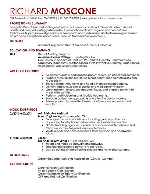 Dental Assistant Resume Objective [Template.billybullock.us ]
