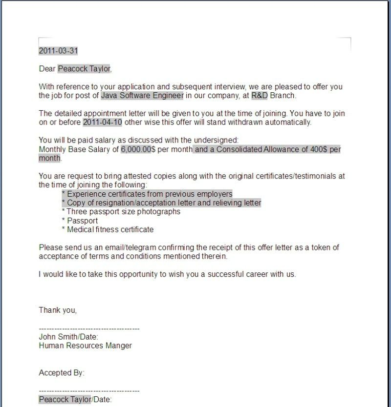 Job Offer Letters. Job Acceptance Letter Template:Examples,Samples ...