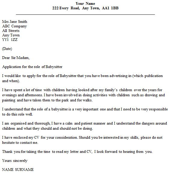 Babysitting Cover Letter - My Document Blog