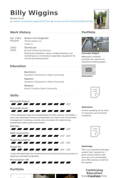 Civil Engineer Resume samples - VisualCV resume samples database