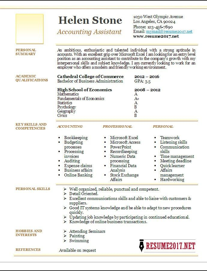 Accounting Assistant Resume Template 2017 •