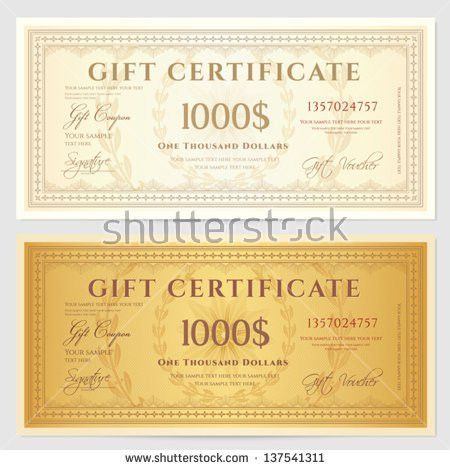 Gift Certificate Voucher Template Guilloche Pattern Stock Vector ...