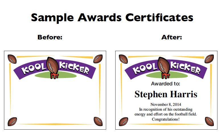 Football Certificate Templates | Youth Award Printables