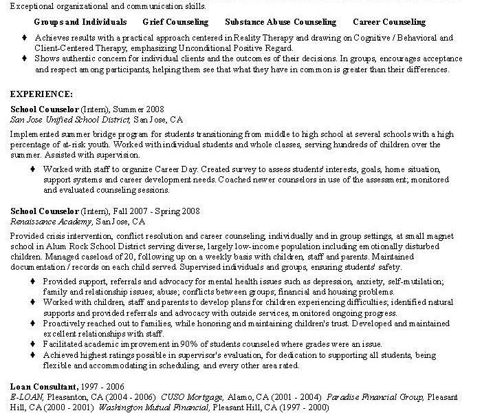 high school counselor resumes
