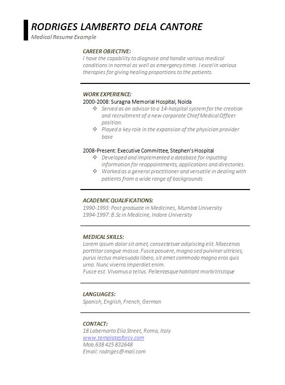 Free word medical resume