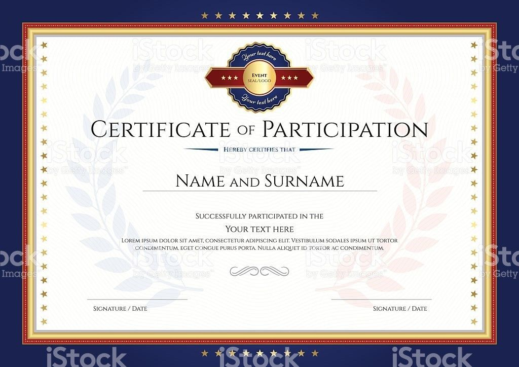 Certificate Of Participation Template With Laurel Background stock ...