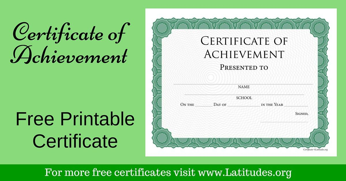 FREE Achievement Certificate (Intermediate Green) | ACN Latitudes