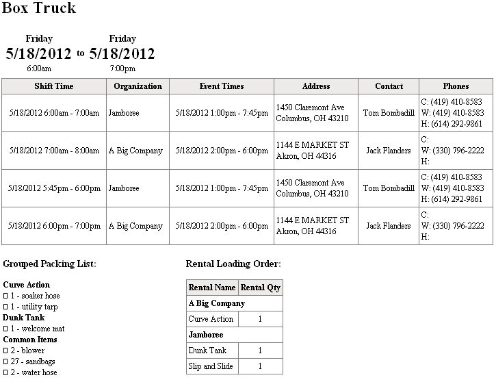Vehicle packing lists | Delivery / Routing