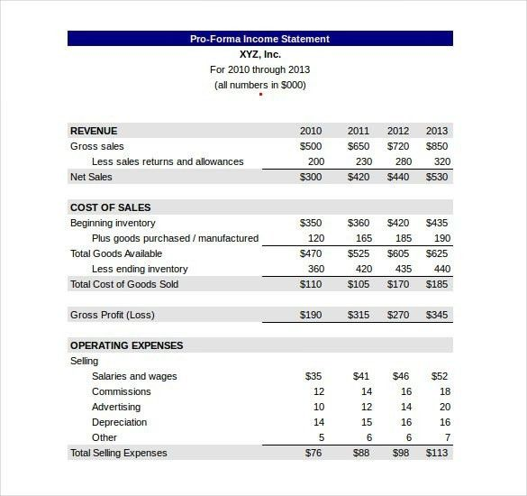 Pro Forma Income Statement Template | Template Business