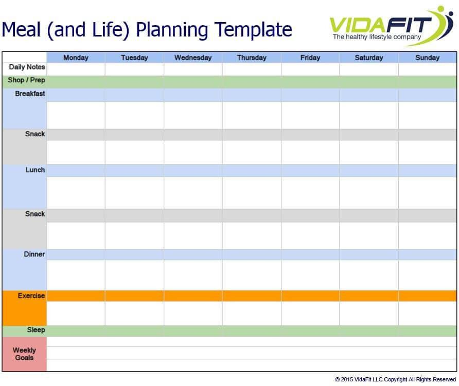 Life and Meal Planning Template - VidaFit | Meal Delivery ...
