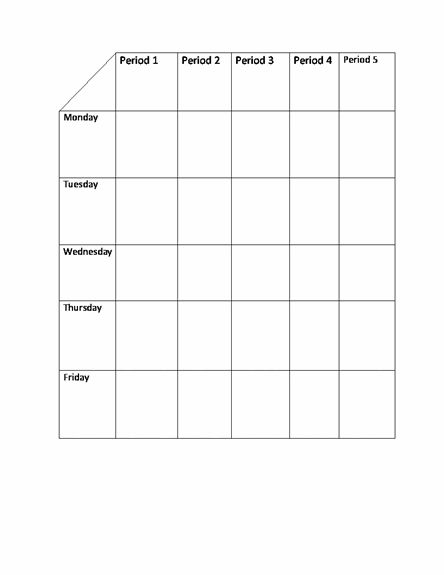School Class Timetable Template | Sample Format