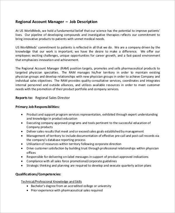 area sales manager job description