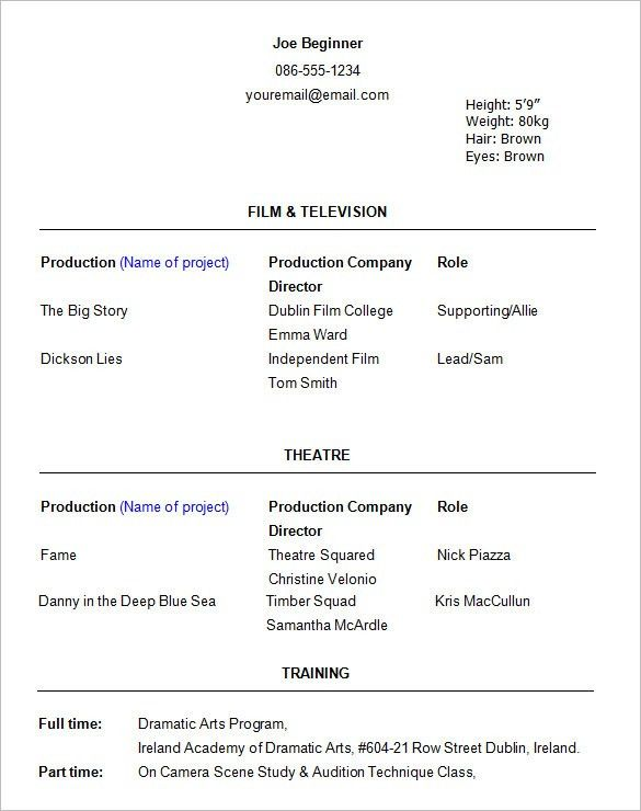 Download Sample Acting Resume | haadyaooverbayresort.com
