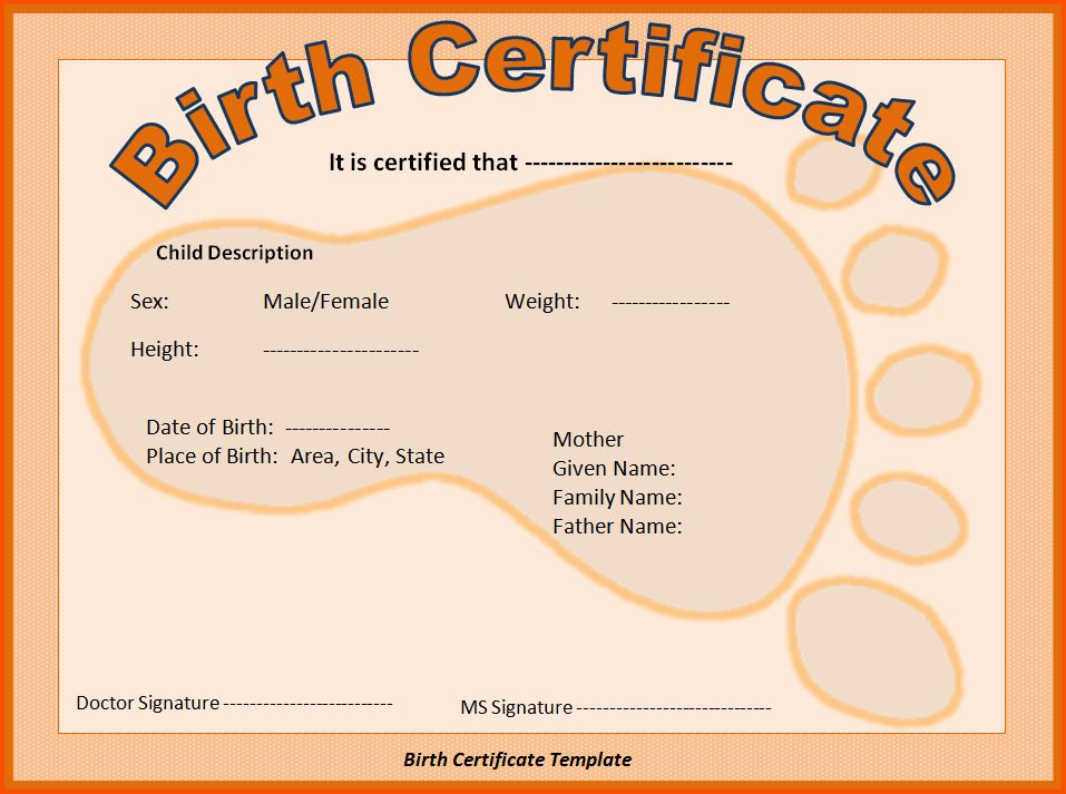9+ birth certificate template word | Survey Template Words