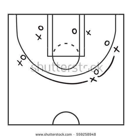 Basketball Court Illustration Lines Stock Vector 458048755 ...