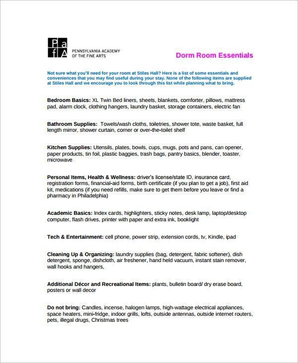 Sample Dorm Room Checklist - 11+ Documents in PDF