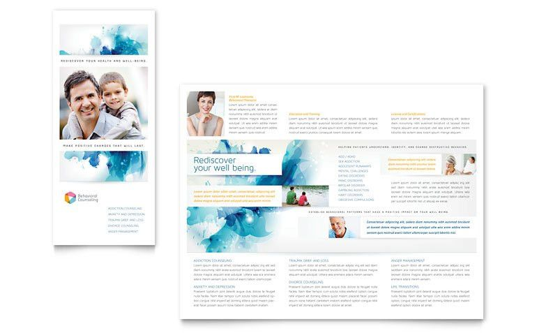 Behavioral Counseling Tri Fold Brochure Template - Word & Publisher