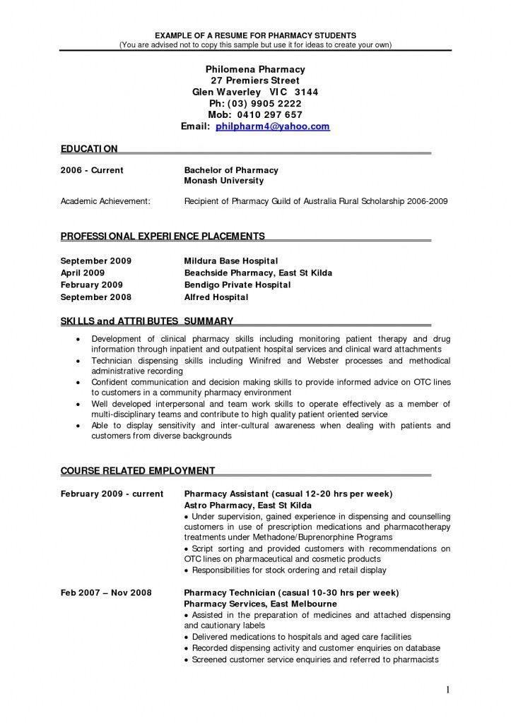 Pharmacist Resume Samples | Job Sample Resumes