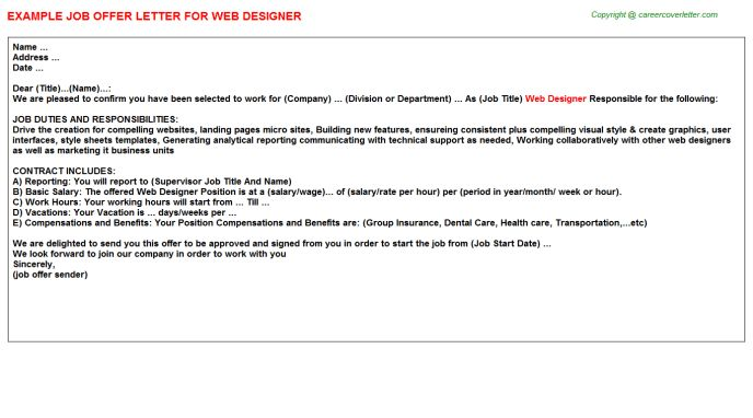 Web Designer Offer Letter