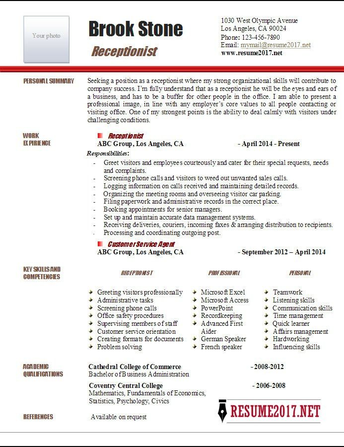 Resume Template For Receptionist. Administrative Coordinator ...