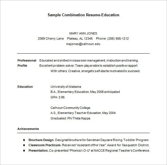 Combination Resume Template | health-symptoms-and-cure.com