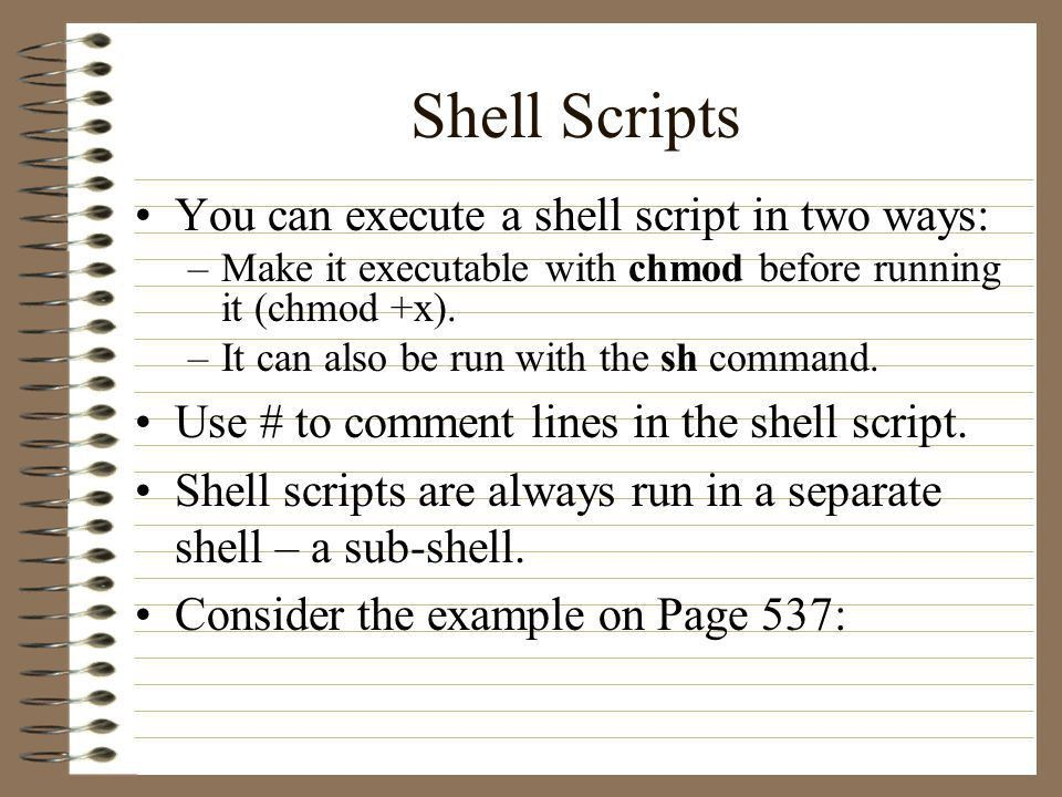 CS 497C – Introduction to UNIX Lecture 32: - Shell Programming ...
