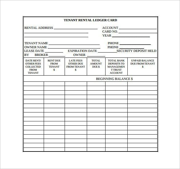 Sample Rental Ledger Template - 9+ Free Documents in PDF, Excel