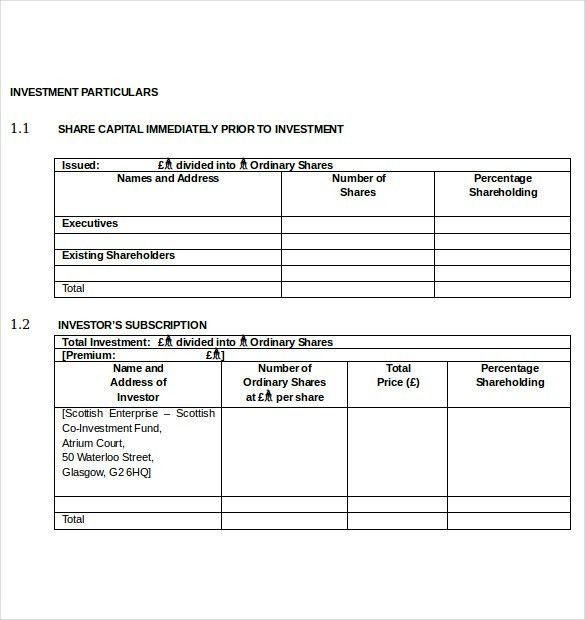 Investment Agreement Template -12+ Free Word, PDF Documents ...