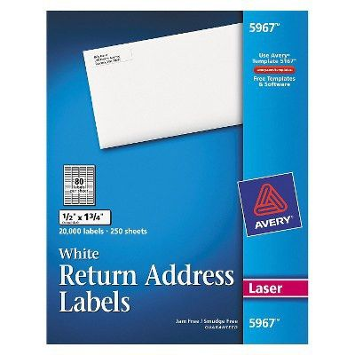 Avery® Return Address Labels, 1/2 x 1-3/4, White, 20000/Box : Target