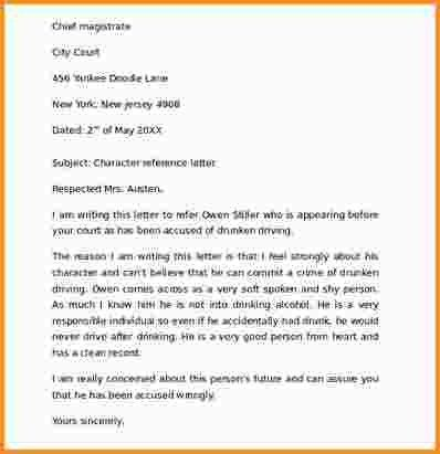 Sample Character Reference Letters For Court. Examples Of ...