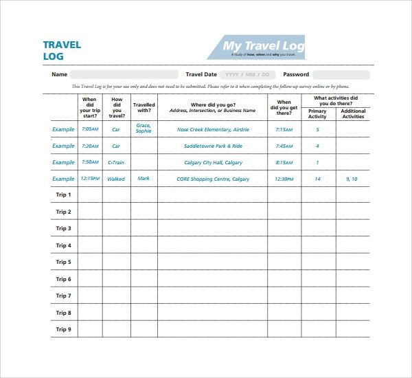 Sample Travel Log Template   9+ Free Documents In PDF