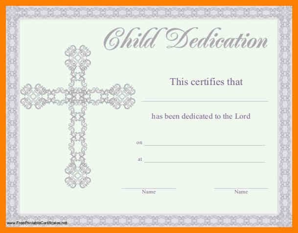 Baby Dedication Certificate Template. 8 baby dedication ...