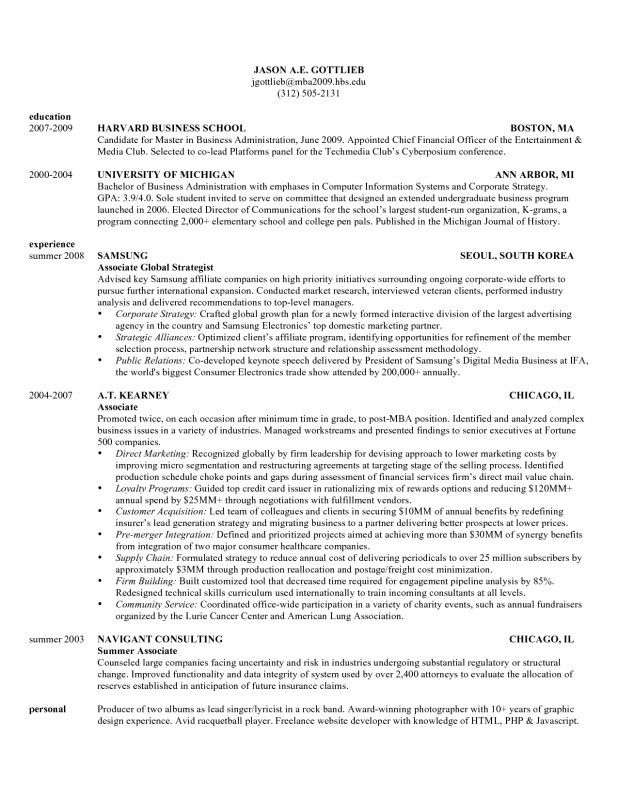 Harvard Business School Resume Format - Best Resume Collection
