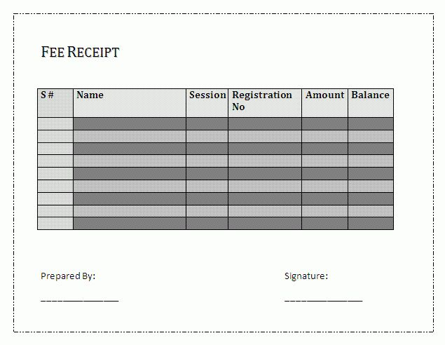 Fee Receipt Template | Free Business Templates