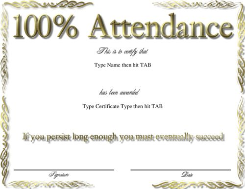 5 Best Images of Perfect Attendance Certificate Template Word ...