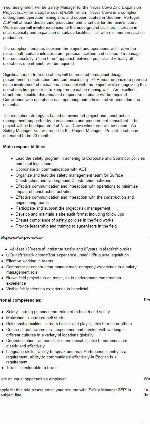 Safety Manager Mining Job in Portugal - CareerMine