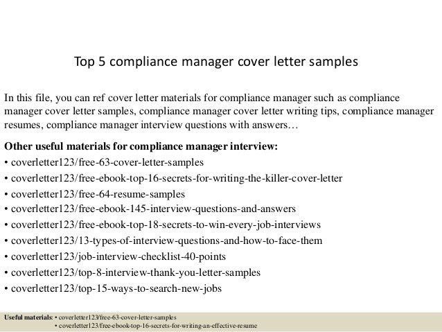 compliance manager cover letter compliance manager cover letter