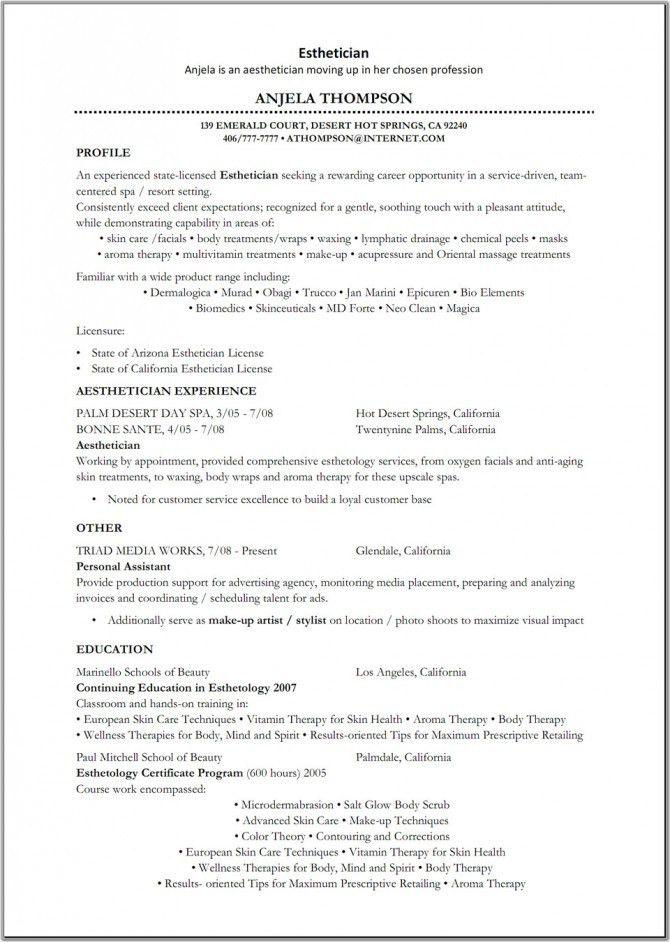 esthetician resume samples intended for esthetician resume samples ...