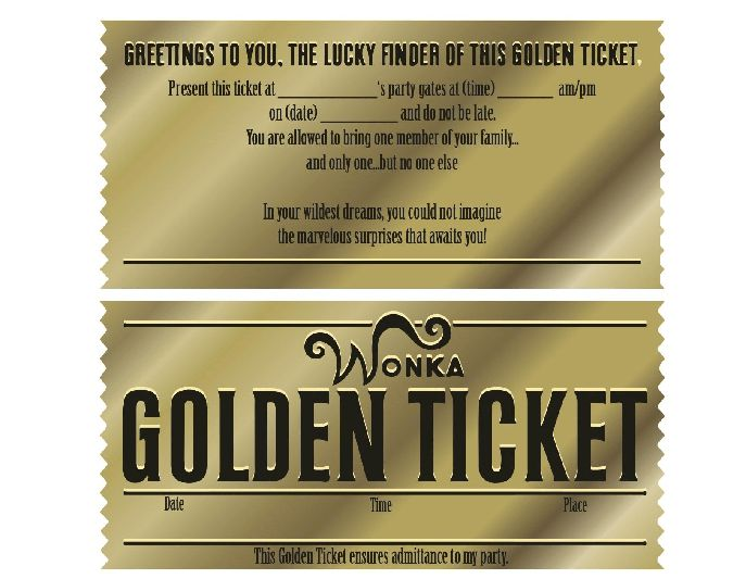 Sample Golden Ticket Template - wikiHow