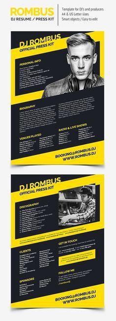 ProDJ - DJ Press Kit / Rider / Resume PSD Template | Press kits ...