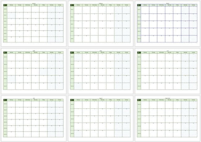 2017 Calendar Templates - 8 + Weekly & Monthly (Word, Excel & PDF)
