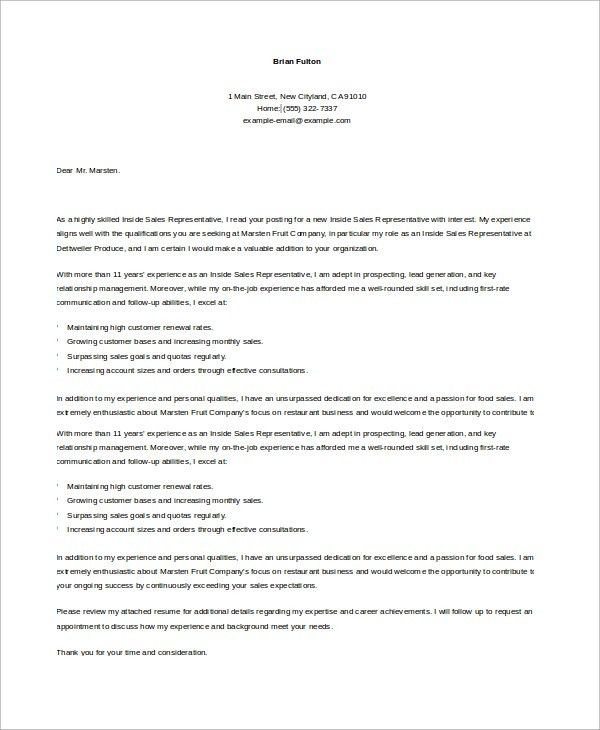 Sample Sales Cover Letter - 10+ Examples in Word, PDF