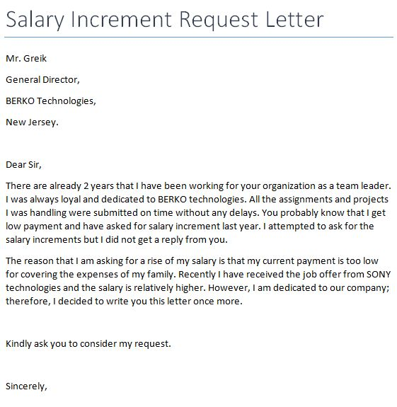 Salary Increment Request Letter Format | Letter Format 2017