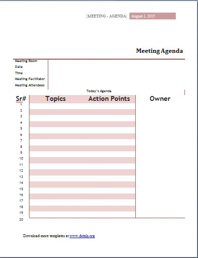 MS Word Meeting Agenda Templates | Word & Excel Templates