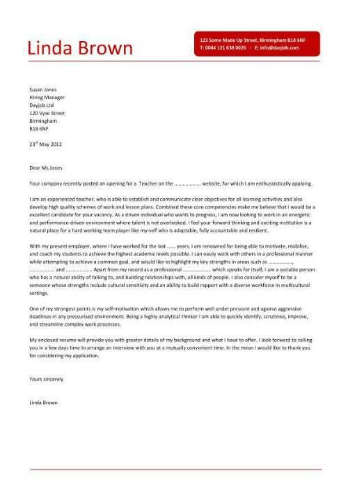 secondary teacher cover letter example icover org uk. primary ...