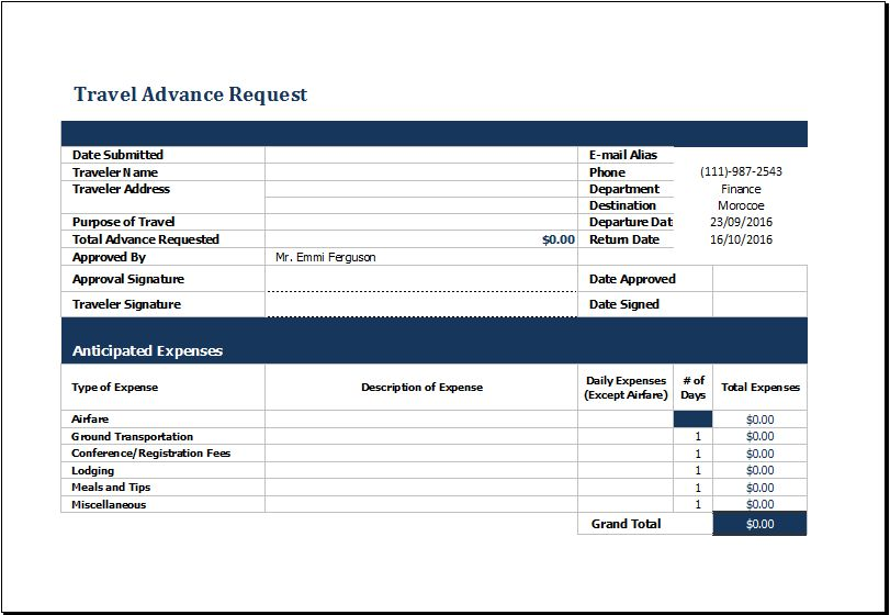MS Excel Travel Advance Request Form Template | Excel Templates