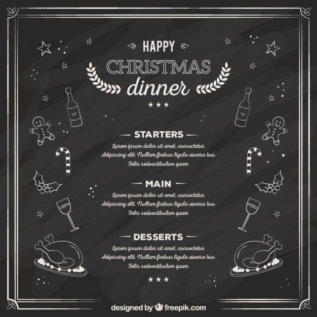Sketchy christmas dinner menu on blackboard Vector | Free Download