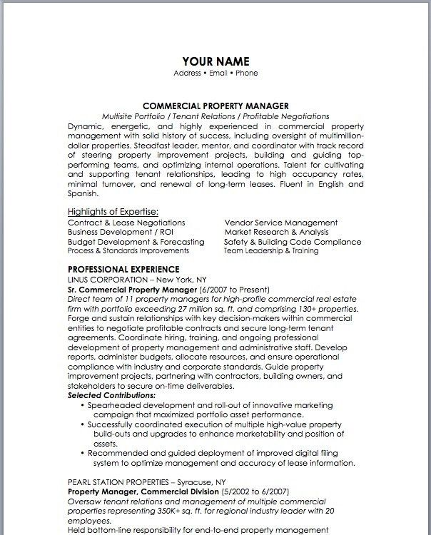 Download Property Manager Resume Sample | haadyaooverbayresort.com