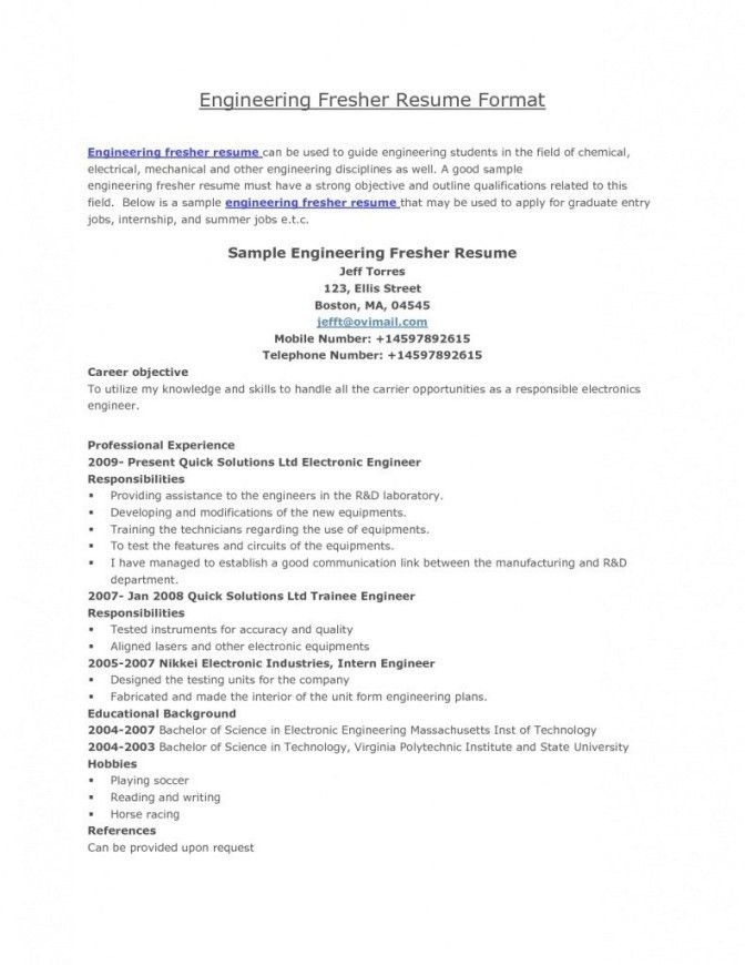 Resume Format For Engineers Freshers Ece | Professional resumes ...