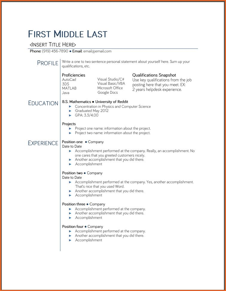 Student Resume Templates Free